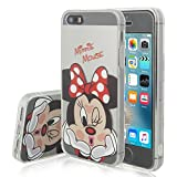 VCOMP Shop Clear Coque en Silicone TPU Coque avec Motif Disney Dessin animé pour téléphone Portable Apple iPhone 5/5S/SE, Silicone TPU, Minnie Mouse, Apple iPhone 5/ 5S/ Se