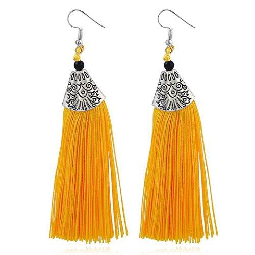 Pendientes amarillos largos de mujer con flecos