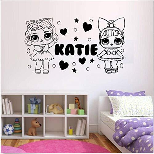 BAOWANG Wandtattoo Personalisierte Mädchen LOL Doll Wall Art Sticker - Schlafzimmer - fügen Sie einen beliebigen Namen.