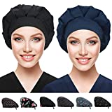 26 Inch Summer Tires - 2 Pack Bouffant Caps with Button and Sweatband, Adjustable Working Hats for Women Men, One Size Working Head Cover