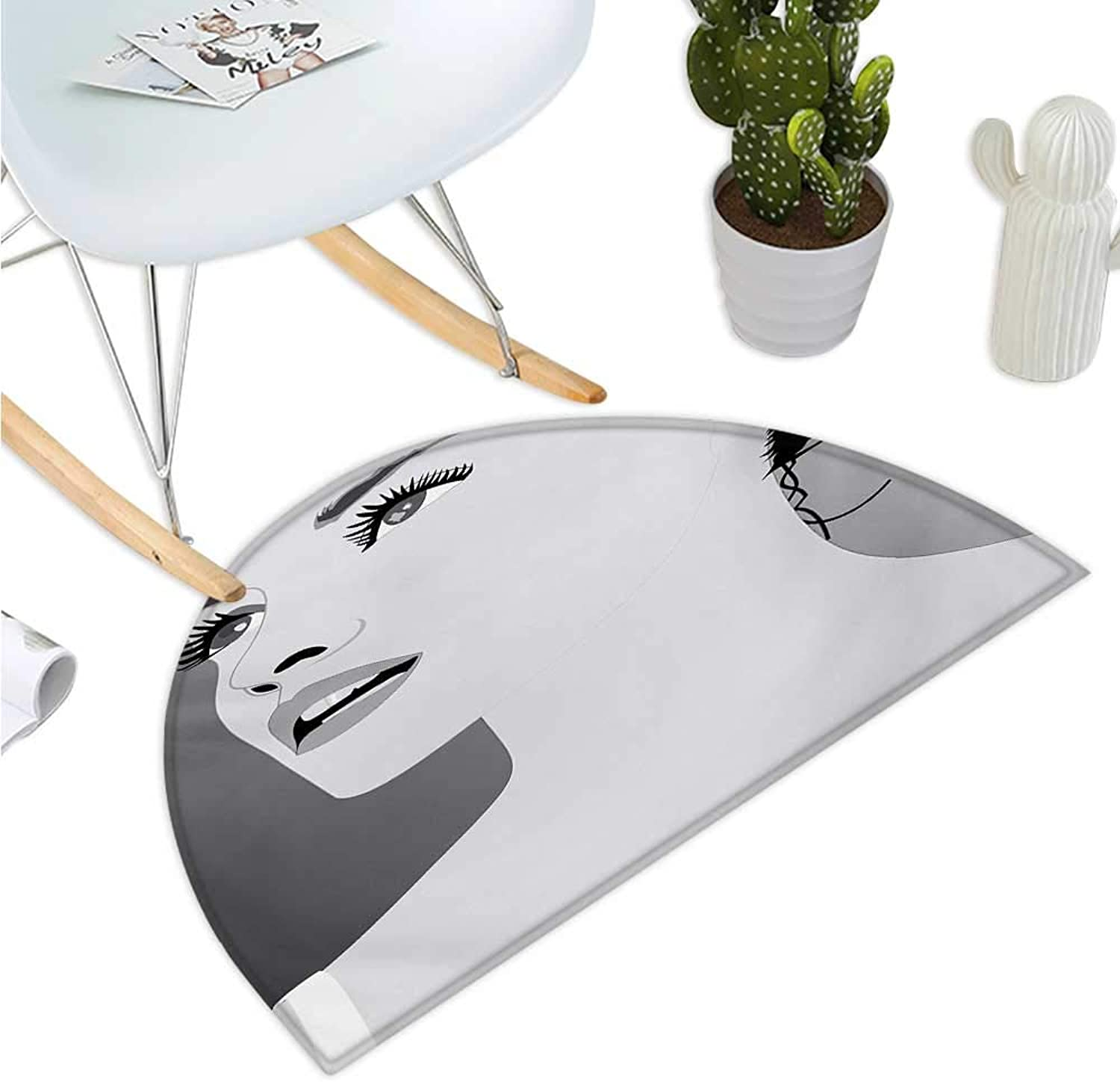 Girls Semicircular Cushion Young Gentle Woman with Make Up Looking in Digital Stylized She Artsy Graphic Print Bathroom Mat H 47.2  xD 70.8  Black Grey