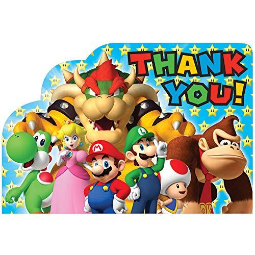 Amscan 481554 Super Mario Thank You ansichtkaarten
