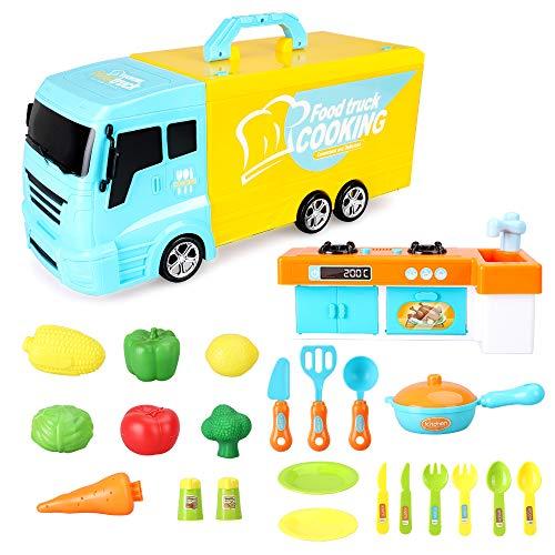 BeebeeRun Camión de Juguete 33 Piezas Camión de Cocina con Luces y...
