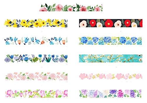 DOFE Decorative Japanese Washi Tape and Adhesive Tape,Decorative Washi Masking Tape for DIY Crafts. (11 Rolls Seasonal Flowers)
