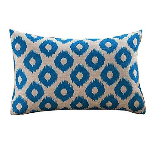 qiaoxiahe Blau Rechteck Geometrische Muster Dekorative Kissenbezüge: 1Stuck 30cmx50cm Leinen Baumwolle Kissenbezüge für Schlafzimmersofa Bunt