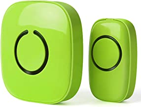 SadoTech Model C Wireless Doorbell, Easy Install, Over 1000-feet Range, 52 USA Chimes, Adjustable Volume and LED Flash, (Lime Green)
