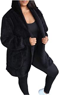 neveraway Womens Hooded Keep Warm Open Front Fuzzy Fashion Coat with Pockets