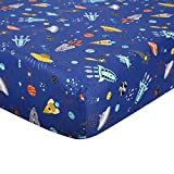 UOMNY Crib Sheet 100% Cotton Fitted Crib Sheet Baby Sheet for Standard Crib and Toddler mattresses Nursery Bedding Sheet Crib Mattress Sheets for Boys 1 Pack Spaceship Toddle Sheet Blue