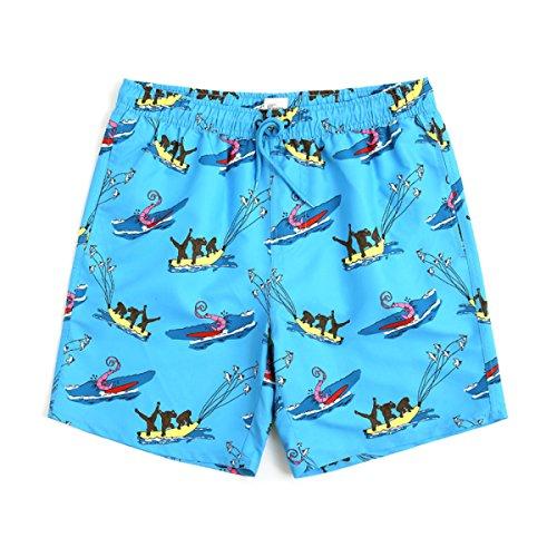 MERRYHE Pantaloncini da Spiaggia Unisex Tronchi da Bagno Quick Dry Costumi da Bagno Abbigliamento da Spiaggia Surf da Corsa Nuoto per Coppia Uomo Donna Ragazzi Ragazze con Fodera in Mesh,Mena-XS