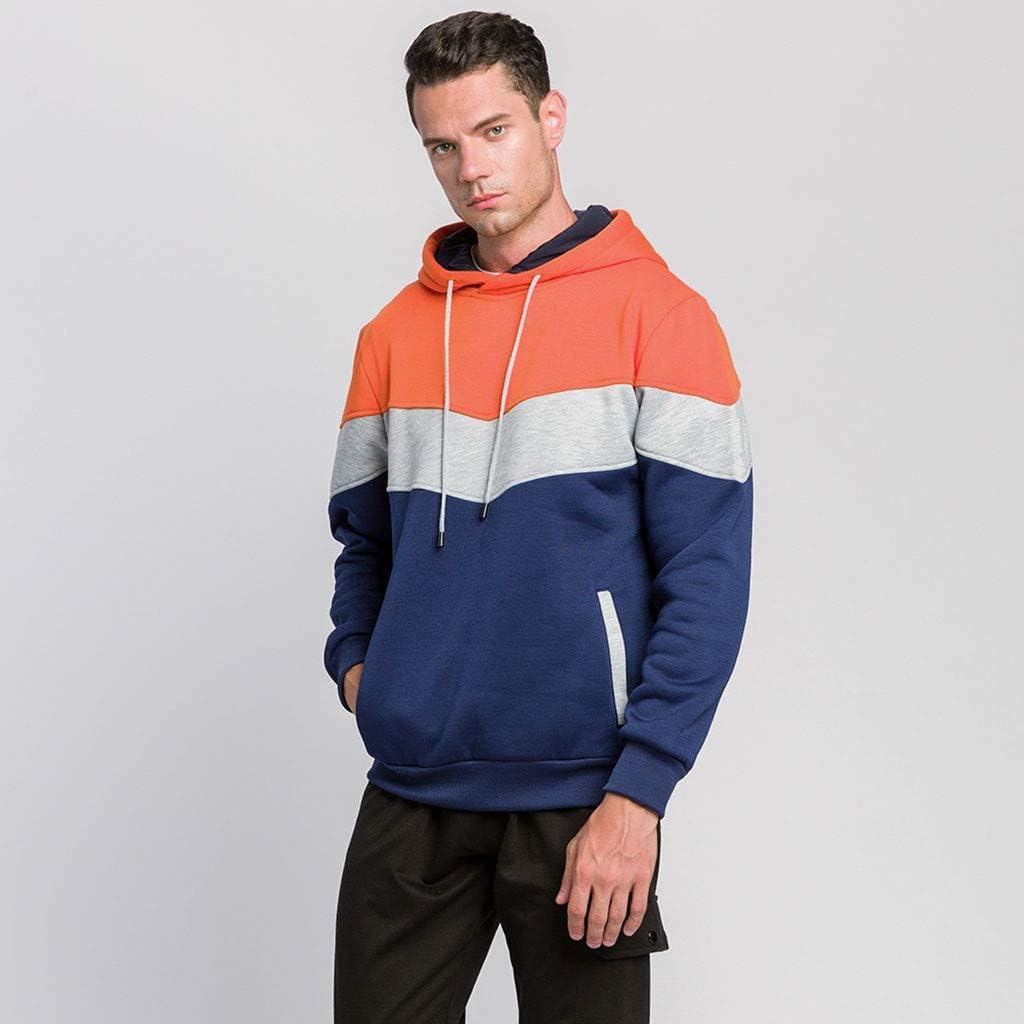 Men Hoodies Men's Contrast Raglan Long-Sleeve Pullover Blend Fleece Hoodie with Pocket Athletic Sport Sweaters
