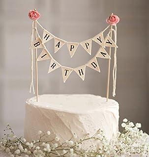 """DIVISTAR """"Happy Birthday""""-Kuchen-Wimpelkette mit Holzstab und Rosen, handgefertigte Kuchendekoration, Elfenbeinfarben/Rosa"""