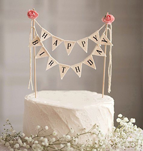 DIVISTAR Happy Birthday Cake Wimpelkette Topper Girlande, handgefertigt, Wimpelflaggen mit Holzstange, elfenbeinfarben, rosa Rosen