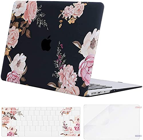 MOSISO Compatible with MacBook Air 11 inch Case (Models: A1370 & A1465), Plastic Peony Hard Shell Case & Keyboard Cover Skin & Screen Protector, Black