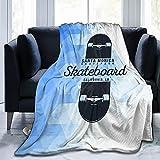Skateboarding Graphic Urban Skating Santa Monica California Navy Ultra-Soft Micro Fleece Blanket Woolen Woollen Blanket Living Room for Mans/Womens 50x40in 60x50in 80x60in