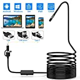 Lightswim Endoscope 3 en 1 USB/Micro USB/Type-C 1200P Cámara de inspección 2.0 megapíxeles HD Boroscopio Impermeable Cable semirrígido Snake Camera para Android/Windows/Macbook OS Computadora (5M)
