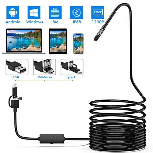 Lightswim Endoscope 3 en 1 USB/Micro USB/Type-C 1200P Cámara de inspección 2.0 megapíxeles HD Boroscopio Impermeable Cable semirrígido Snake Camera para Android/Windows/Macbook OS Computadora (5M)