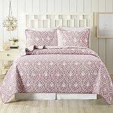 SLPR Blushing Beauty Bettwäsche-Set für Doppelbett mit 1 Kissenbezug, moderne gesteppte Tagesdecke aus Damast