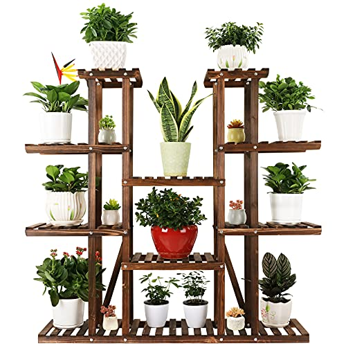 Ufine 9 Tier Wood Plant Stand Carbonized Flower Rack 17 Potted Organizer Tall...
