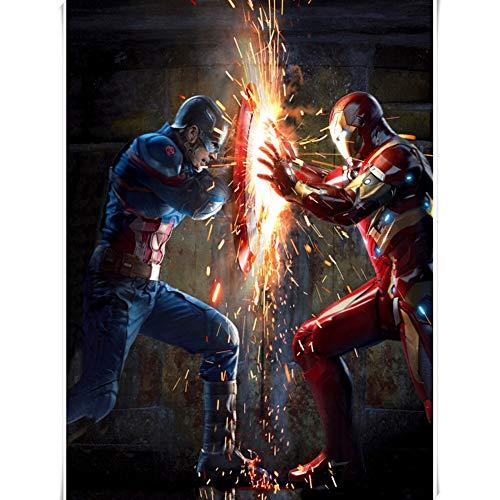 Puzzles Marvel Los Vengadores Rompecabezas 300/500/1000/1500 Piezas Adultos Iron Man Capitán América Jigsaw Puzzle Regalos, 5 Estilos (Color : B, Size : 1000 Pieces)