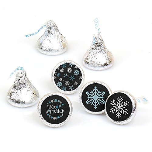 Big Dot of Happiness Be Merry - Snowflake Holiday and Merry Christmas Party Round Candy Sticker Favors - Labels Fit Hershey's Kisses (1 Sheet of 108)