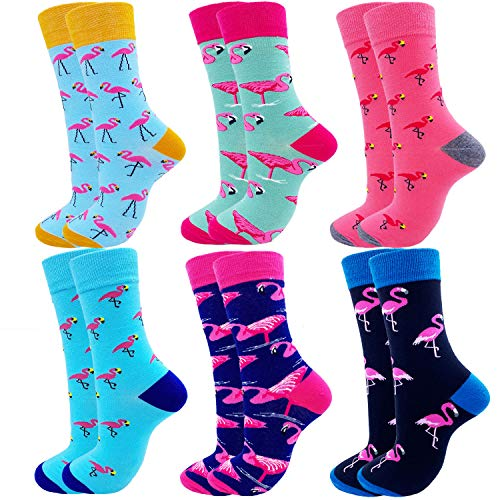 Jielucix Bunte Baumwoll-Socken für Damen, lustig, gestreift, Multipack, Größe 39-43, Pink