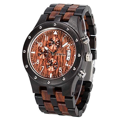 BEWELL Uhren Aus Holz Herrenuhr Chronograph Quarzwerk mit Holzarmband Datum Kalender Stoppuhr Rund Uhr (Schwarz & Rot)