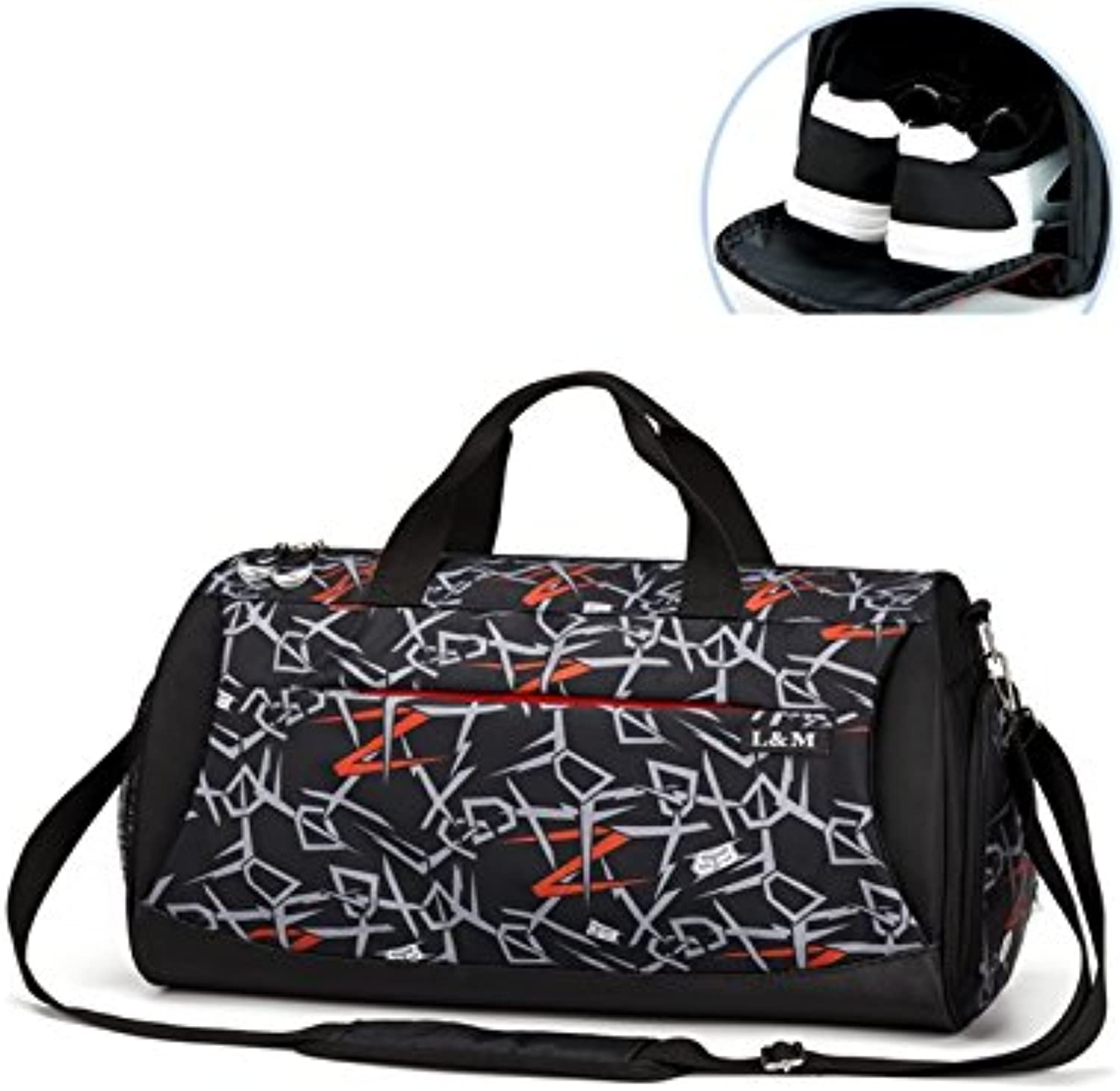 Hiking Outdoor Large Capacity Gym Bag Sports Holdall Travel Weekender Duffel Bag with shoes Compartment(Geometric Black) for Outdoor Traveling