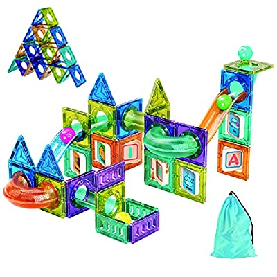 Magnetic Tiles Marble Run for Kids Ages 4-8 with Storage Bag, STEM Educational Toys 3D Strong Magnets Building Blocks Set Construction Playboards for 3 4 5 6 7 8 9 10 Year Old Boys Birthday Gift 71pcs by Destric