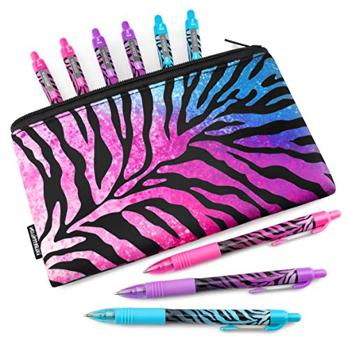 Zebra Z-Grip Smooth - Limited Edition Funky Flame Design - Pack of 9 Assorted Ink Pens with Matching Pencil Case