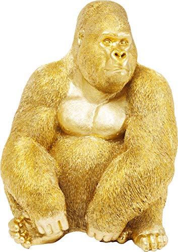 Kare Design Deko Figur Gorilla Side XL Gold, große Dekofigur in Form eines Gorillas, ausgefallene Wohnzimmer Dekoration, Dekofigur Gorilla Gold, Dekoobjekt Affe (H/B/T)76x60x55cm
