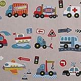 Fester Baumwollstoff/LARS/Fahrzeuge, beige / 50x160