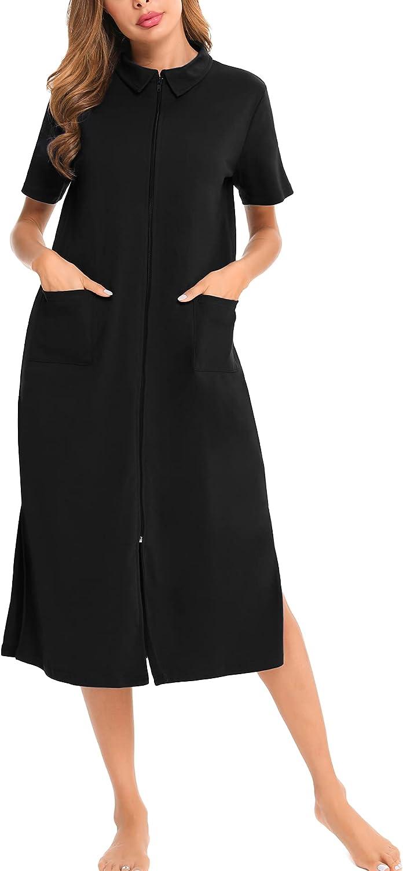SWOMOG Nightgown Robe Women Zipper Housecoats Short Sleeve Loungewear Full Length Sleepwear
