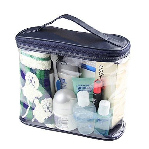 Homieco trade;Sac de Toilette PVC Transparent Trousse de Toilette Travel Maquillage Cosmétique Sac fourre-tout Organisateur de Rangement avec Poignée en cuir