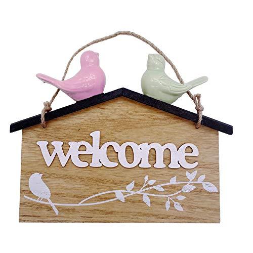 Jashem Welcome Signs Door Decoration Hanging Wood Sign Home Plaque Garden Bar Cafe Shop Store Front Door Wall Hanging Decoration