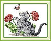 クロスステッチキット刻印刺繡-猫の蝶-大人の初心者スターターキット-DIYクロスステッチ針仕事フルレンジのプリントパターンクラフト家の装飾ギフト11CT(16x20インチ)