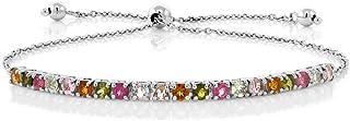 GSK 2.05克拉蓝宝石钻石手链925银大小可调宝石手饰女