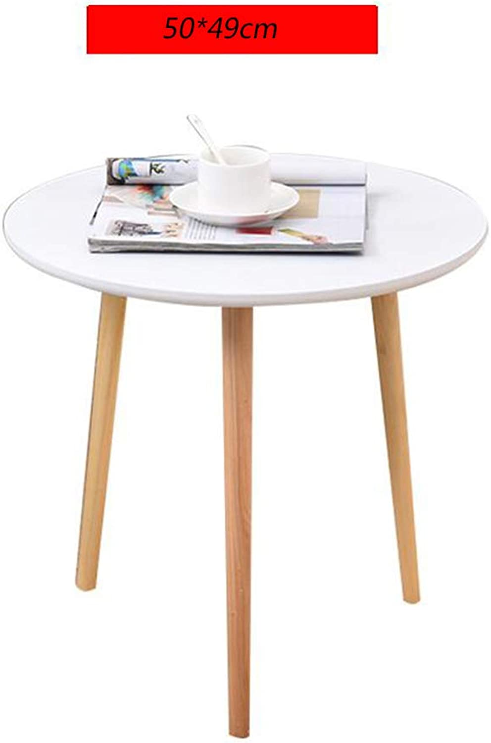 Coffee Table, Modern Furniture Decorated Round Side Table, Solid Wood Table Legs, Living Room, Balcony, Home and Office,C
