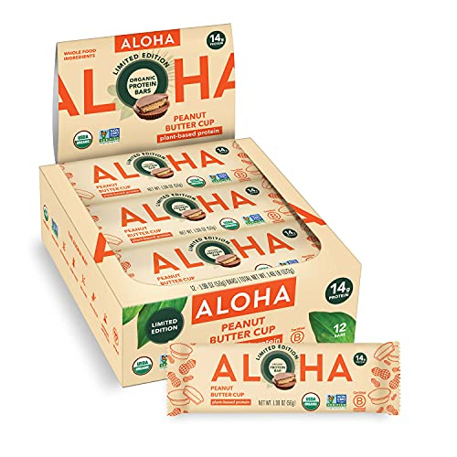ALOHA Organic Plant Based Protein Bars - Peanut Butter Cup Bar - 12 Bars, Vegan, Low Sugar, Gluten-Free, Paleo, Low Carb, Non-GMO, No Stevia, No Erythritol - LIMITED EDITION