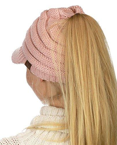 C.C BeanieTail Warm Knit Messy High Bun Ponytail Visor Beanie Cap, Indi Pink