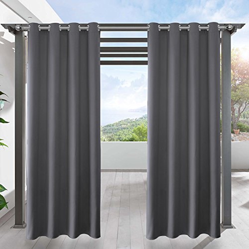 LIFONDER Grey Blackout Outdoor Curtains - Home Decoration Solid Eyelet...
