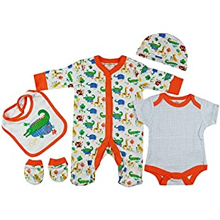 Baby-Girls White Orange Safari Animals Presents Gifts for Newborn Baby Girls Toddler Unisex Cute Clothing Sets Sleepsuit Vest Bib Hat Outfits Bundles Pack:Interoot