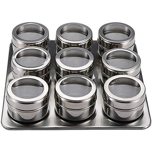 San Ignacio Set 10 stuks kruidenrek roestvrij staal vers voedsel, chroom, 9 kruidenpotten van 6,3 x 4,3 cm, 23 x 23 x 5 cm lade