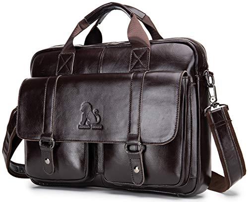 GHJL Genuine Leather Briefcases For Men 14 Inch Laptop Portfolio Bag Travel Briefcase, Expandable Large Hybrid Shoulder Bag