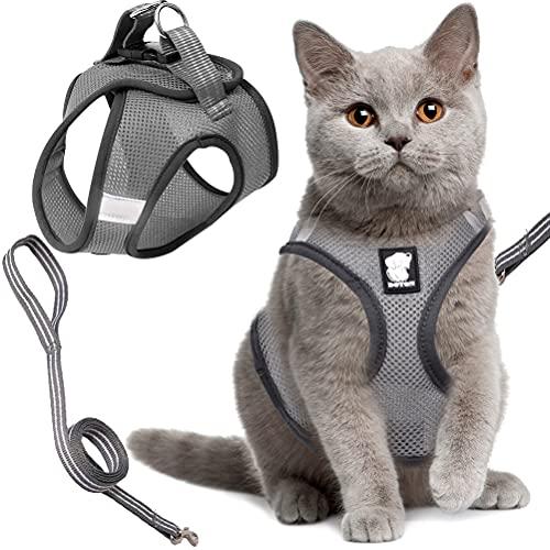 Arnés para Gatos Tomicy Juego de Arnés y Correa para Gatos, Arnés Ajustable para Cachorros, Cachorros Ajustable Arnés para Gatos 35-40Cm, Arnés Gato Reflectante(M, Gris Plateado)