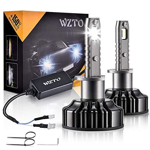 H1 LED, WZTO 12000LM Bombilla H1 led Coche Faros Delanteros 70W 6000K Bombilla Kit IP67 Impermeable - Garantía de 2 Años