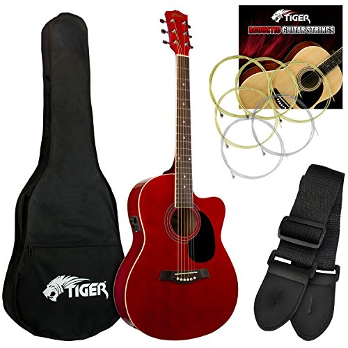 Tiger Music ACG4-RD Elektro-Akustische Gitarre-Set - Rot