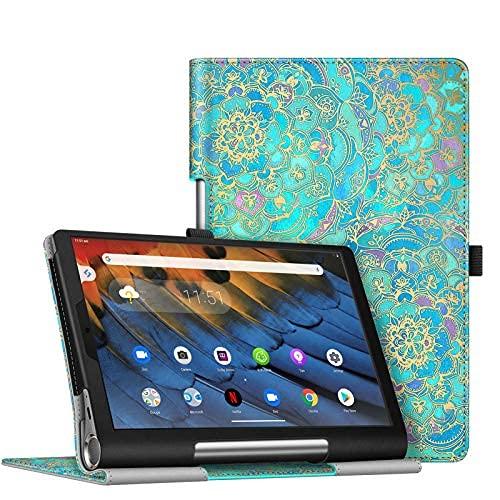 Funda para Lenovo Yoga Smart Tab, funda de piel vegana de alta calidad con función de reposo/encendido automático para Lenovo Yoga Smart Tab 10.1 (YT-X705F) Tablet, gris