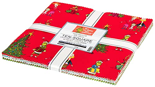 Dr. Seuss How The Grinch Stole Christmas 2020 Palette 42 10' Squares Layer Cake Kaufman TEN-1000-42