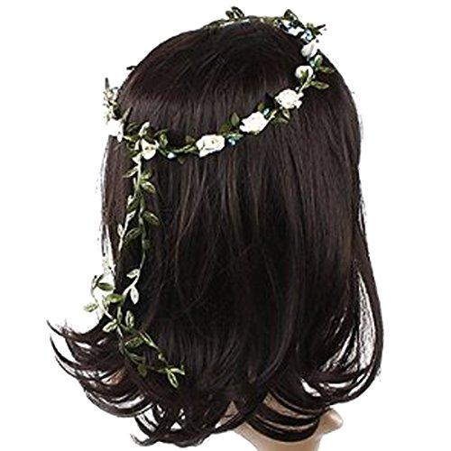 SANWOOD Haarkranz Blumenkranz Blumenschmuck Blumen Krone Hochzeit (Beige)