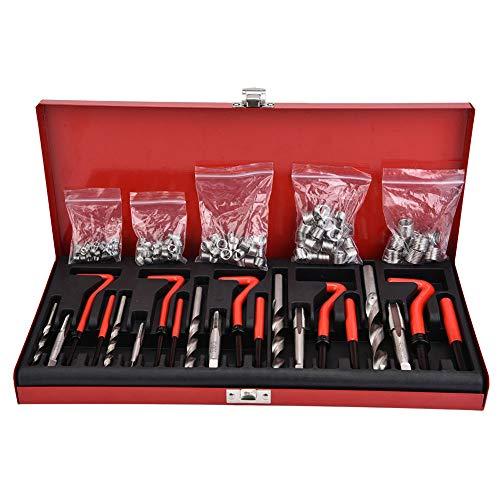 Kit de reparación de roscas - 131 piezas M5-M12 Juego de herramientas de reparación de insertos roscados con tornillos Kit de instalación de insertos de cables